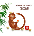 Chinese new year 2016 cute ape cartoon card vector image
