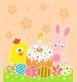 easter background with bunny and chicken vector image