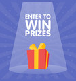 enter to win gift prize red box spotlight vector image
