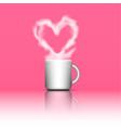 heart shape smoke on coffee cup vector image