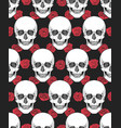human skull tribal style seamless pattern vector image