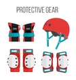 set of flat roller skating protective gear vector image