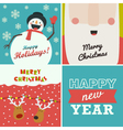 Set of four Christmas and New Year greeting cards vector image