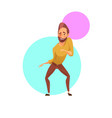Handsome man winking and dancing vector image