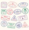 passport stamp travel visa sign icon set vector image
