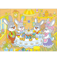 Easter bunnies at the festive table vector image vector image