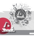 Hand drawn barge icons with icons background vector image vector image