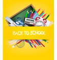 Back to school Background with school supplies vector image vector image