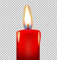 Burning candle on a transparent background vector image