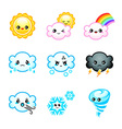 Kawaii weather icons vector image