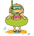 little funny girl going to swim vector image