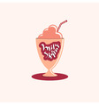 Milkshake hand drawn text on glass vector image