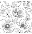 poppy flowers seamless pattern texture black white vector image