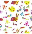 seamless background with artistic tools vector image
