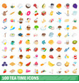 100 tea time icons set isometric 3d style vector image