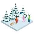 Isometric kids playing outdoors in winter vector image
