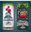 Merry Christmas greeting card pine tree branch vector image