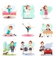 Daily Routine set with cute girl vector image