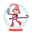 Hello winter concept card with monkey - symbol of vector image