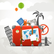 Vacation travelling composition concept with the vector image