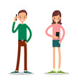 boy and girl with mobile phone vector image