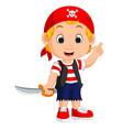cartoon pirate holding a sword vector image