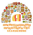childrens icon set - toys sweets alphabet vector image