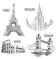 European cities symbols sketch vector image