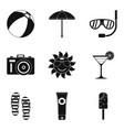 Sunburn icons set simple style vector image