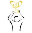 Winner with trophy vector image
