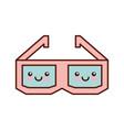 Glasses 3d kawaii character vector image