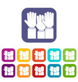 different people hands raised up icons set flat vector image