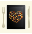 Tablet Computer And Food Icons vector image vector image