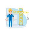 boy in suit of builder presents himself employee vector image