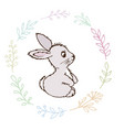 doodle rabbit small postcard vector image