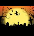 Halloween silhouette graveyard vector image