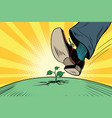 the human foot comes to green sprout ecology and vector image