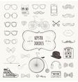 Hipster Retro Vintage Doodle Icon Set vector image