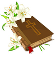 bible and lily flowers vector image vector image