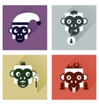Set of flat icons with long shadow Monkey vector image