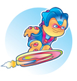 Alien flying on rocket skateboard vector image