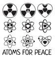 Black atom icons set vector image