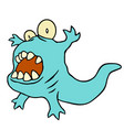 funny blue dinosaur funny blue vector image