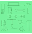 set of outline hand tools on green background vector image
