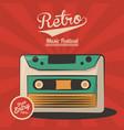 vintage retro music festival cassette invitation vector image