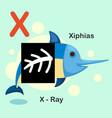 isolated animal alphabet letter x-x-ray xiphias vector image