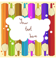 Background with pencils and cloud for text vector image vector image
