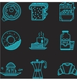 Breakfast blue line icons vector image