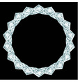 Diamond round frame on black background vector image