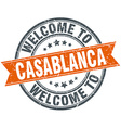 welcome to Casablanca orange round ribbon stamp vector image